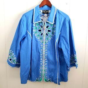 Bob Mackie Nwot Embroidered Light Zip Jacket
